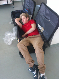 Niall sleeping in a suitcase