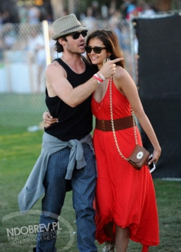 Ian Somerhalder and Nina Dobrev wallpaper probably containing a wicket titled Nina and Ian Coachella