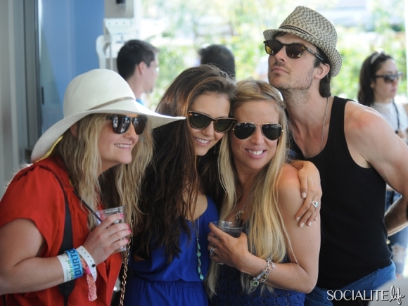 Nina and Ian at Burton Coachella Party - ian-somerhalder-and-nina-dobrev photo