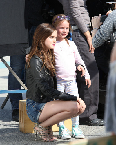 emma watson wallpaper containing a business suit and a hip boot called On the Set of The Bling Ring - April 12, 2012