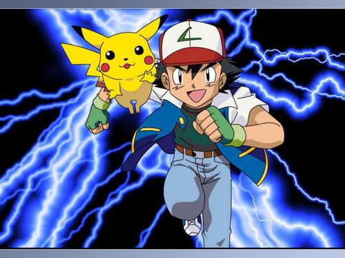 Pokémon karatasi la kupamba ukuta with anime titled Pikachu and Ash
