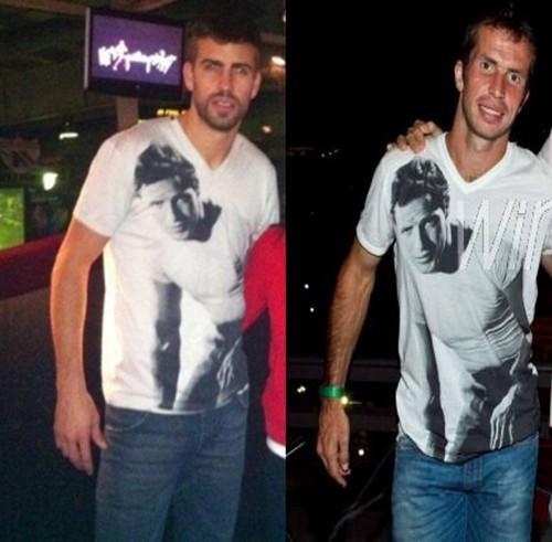 Piqué had the same कमीज, शर्ट as Stepanek had previously !