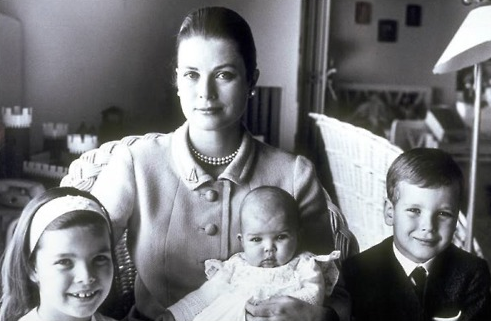 Princess Grace of Monaco with little Caroline, Stephanie and Albert