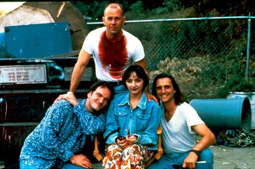 Quentin Tarantino, Bruce Willis, Maria de Medeiros & Lawrence Bender