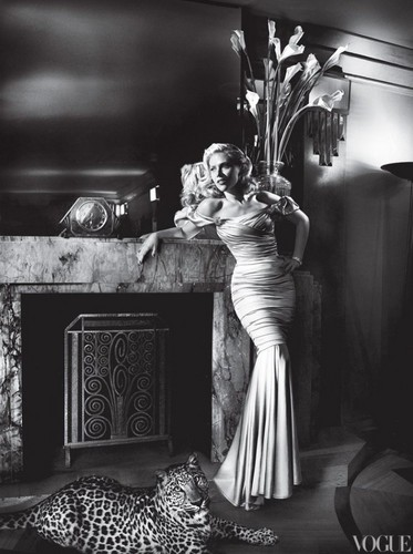 Scarlett Johansson wallpaper with a living room, a drawing room, and a dressing table entitled Scarlett - Vogue (May 2012)