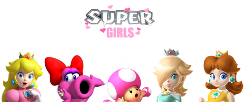 Super Girls: Birdo, Rosalina, Peach, uri ng bulaklak and Toadette
