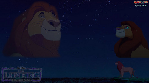 The Lion King Mufasa & Simba Cinta night sky kertas dinding HD