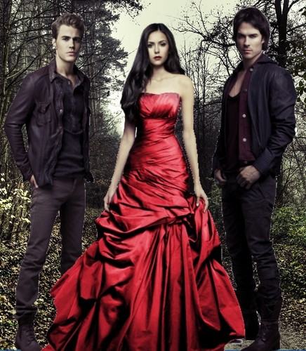 The Vampire Diaries پیپر وال with a gown, a رات کے کھانے, شام کا کھانا dress, and a bridal گاؤن, gown called The Vampire Diaries - Season 3