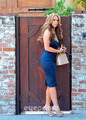 Wearing a Sexy Blue Dress Outside Her घर In Toluca Lake [ 9 April 2012]
