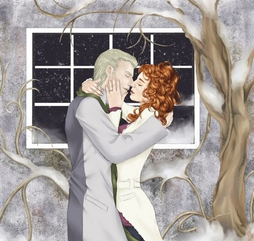 Rose and Scorpius wolpeyper titled Winter Kiss- Scorpius/Rose