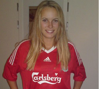 Wozniacki Wears A T Shirt Of Liverpool Fc Wallpaper Probably With A T