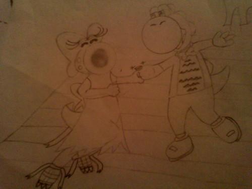 Yoshi and Birdo ballroom dancing