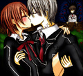 Zero kissing Yuki (Kaname pissed in the background)