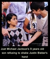 blanket refusing to shake Justin Bieber's hand! :)