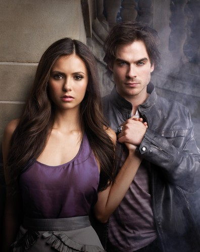 the vampire diaries wallpaper with a koktil, koktail dress called damon elena stefan