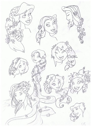 flower hairstyle - disney-princess Fan Art