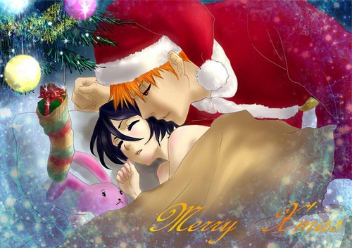 Bleach anime achtergrond probably with a bouquet called ichigo X Rukia Christmas