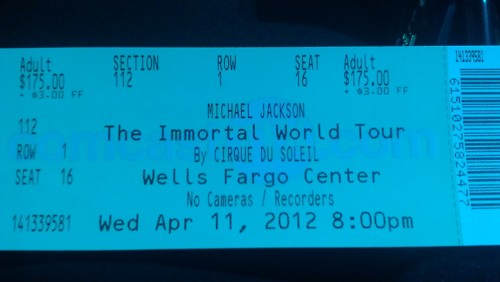 mj immortal tamasha ticket <3