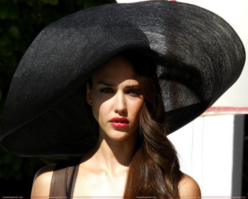 Jessica Alba wolpeyper with a boater, a sombrero, and a snap brim hat called Alba
