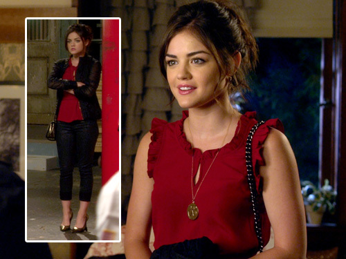 Aria Montgomery Обои possibly with a top, a playsuit, and a chemise entitled Aria Montgomery Style
