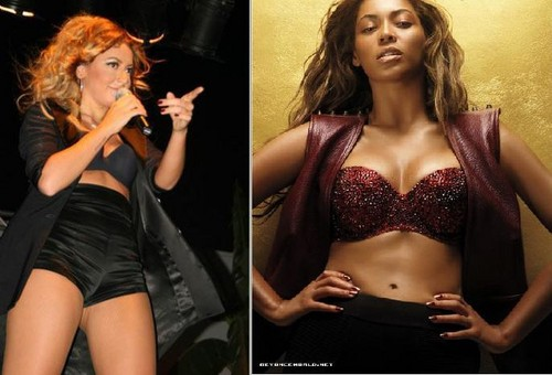 Beyoncé hình nền containing attractiveness and a brassiere entitled Beyoncé & Hadise