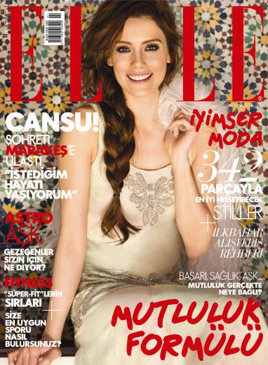 Cansu Dere on the cover of Elle magazine Turkey