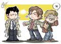 Cas, Dean and Sam - dean-castiel-and-sam fan art