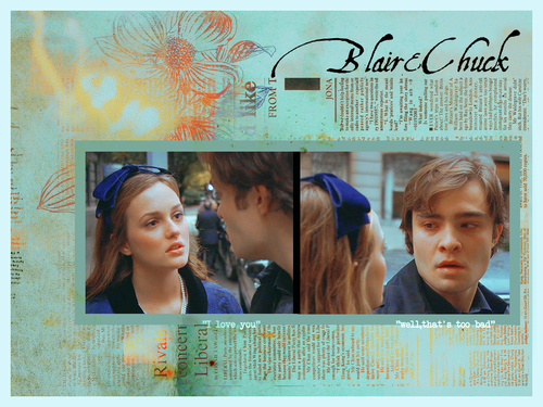 Blair & Chuck karatasi la kupamba ukuta probably containing a newspaper and a portrait titled Chuck&Blair