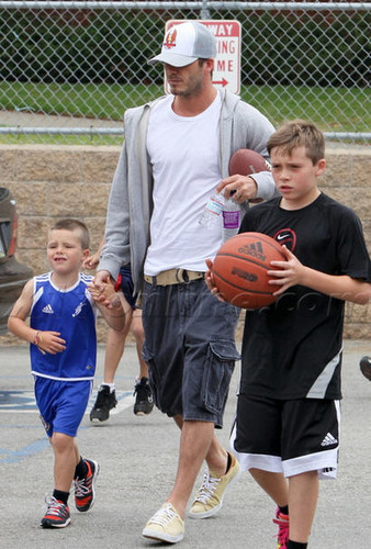 David Beckham wallpaper possibly with a dribbler, a basketball player, and a basketball titled David Beckham and his sons