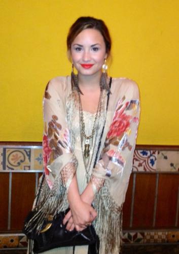 Demi - Has dinner at the Porcão Restaurant in Rio De Janeiro, Brazil - April 18th 2012