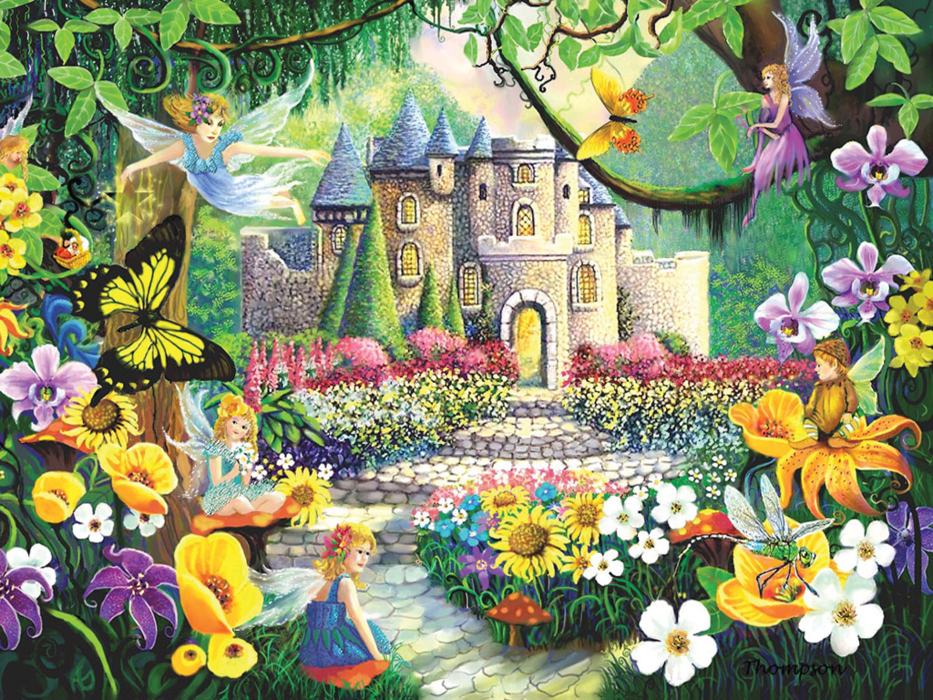 fairy garden white wallpaper - photo #7