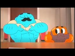 Gumball rolling his stomach lol!!! XD