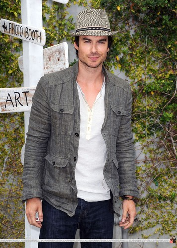 Ian Somerhalder wallpaper probably with a sign and a street entitled HQ Pics - Ian Somerhalder arrives at Earth Day Celebration on April, 22