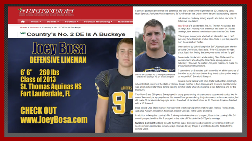 JOEY BOSA DE IS BUCKEYE #12 FOR 2013 PER BUCKNUTS