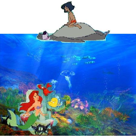 disney crossover wallpaper called Jungle Book and Little Mermaid