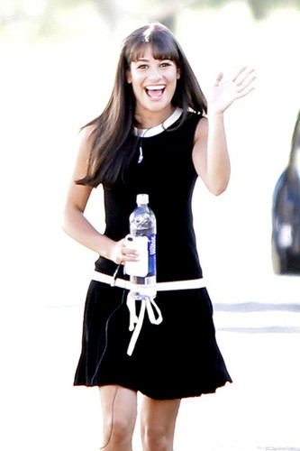Lea Michele on set