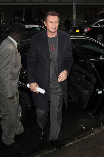 Liam Neeson Visits Talk Shows in NYC