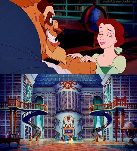Beauty And The Beast Wallpaper Possibly Containing Anime Called Library