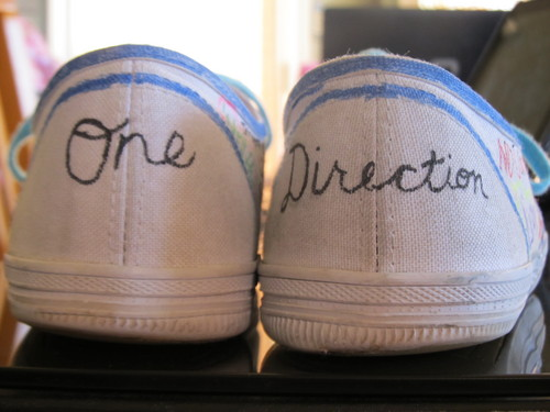 Look at my 1D shoes I decorated today!