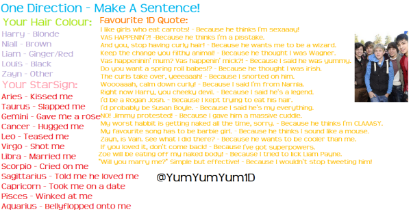 make your own 1d sentence x one direction photo