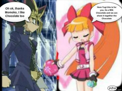 Momoko gives 초콜릿 to Yugi