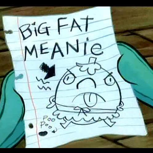 Spongebob Squarepants kertas dinding titled Mrs Puff is a big fat meanie