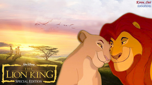 The Lion King wallpaper possibly containing anime called Mufasa and Sarabi Lion King HD wallpaper