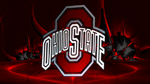 Ohio State Buckeyes wallpaper entitled OHIO STATE RED BLOCK O ON AN ABSTRACT