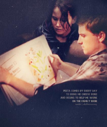 Peeta Mellark and Katniss Everdeen kertas dinding possibly containing a newspaper and Anime called Peeta and Katniss