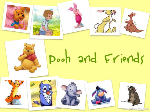 Winnie the Pooh wolpeyper titled Pooh and mga kaibigan collage