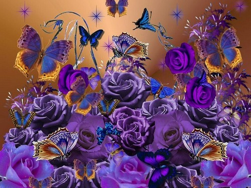 Purple roses and butterflies for Berni