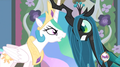 Queen Chrysalis and Princess Celestia