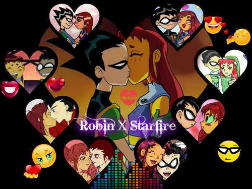 teen titans wallpaper probably containing anime entitled Robin X Starfire