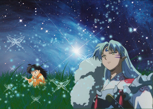 Sesshomaru and Rin wallpaper titled Sesshomaru and Rin Starry Skys